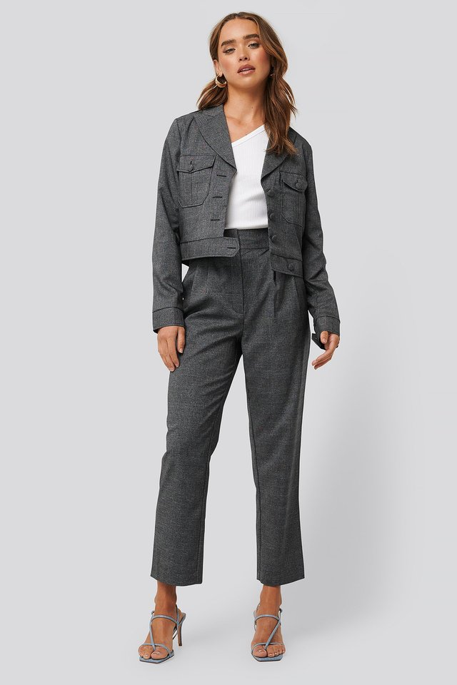 Dark Grey Check Loose Fit Plaid Cropped Pants