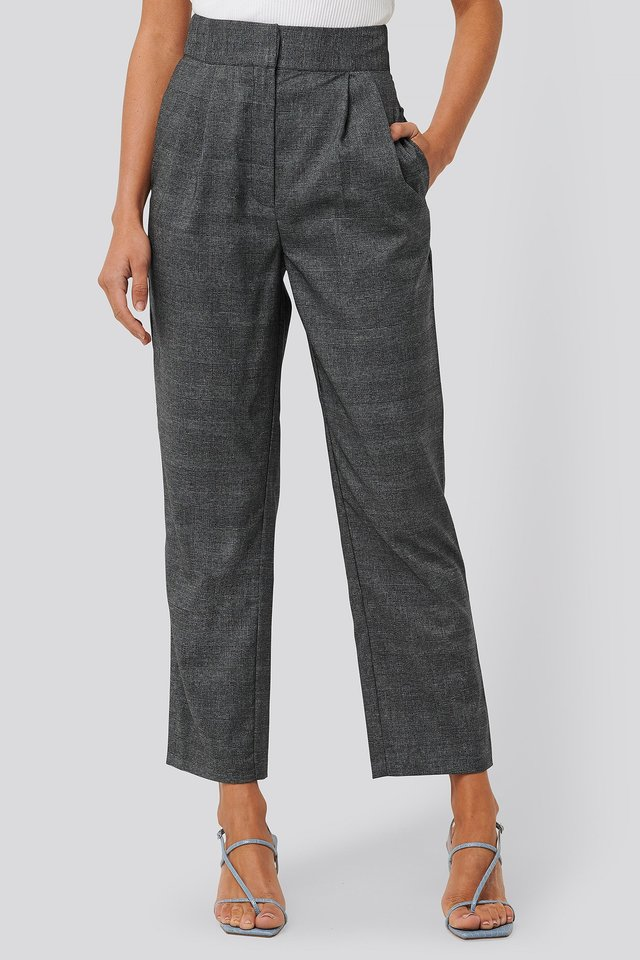Loose Fit Plaid Cropped Pants Dark Grey Check