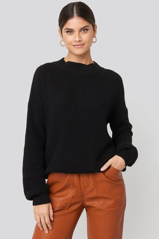 Deep Black Loose Fit Ribbed High Neck Sweater