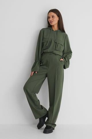 Dark Green Kostymbyxor Med Lös Passform