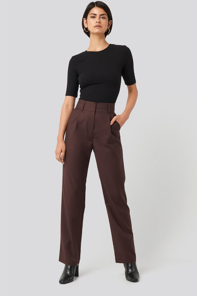 Loose Fit Suit Trousers Burgundy