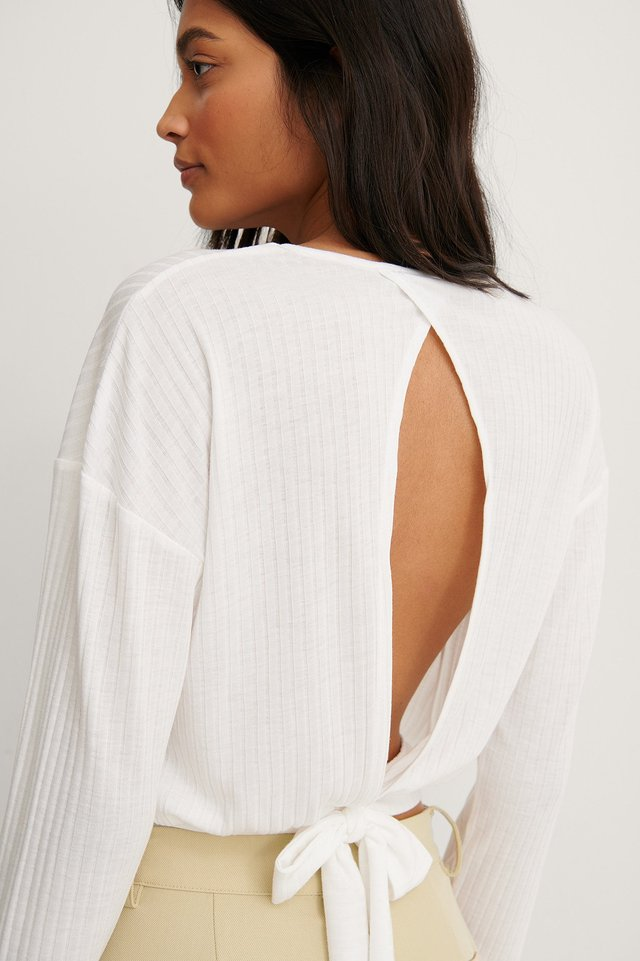 Offwhite Recycled Loose Knot Back Detail Top