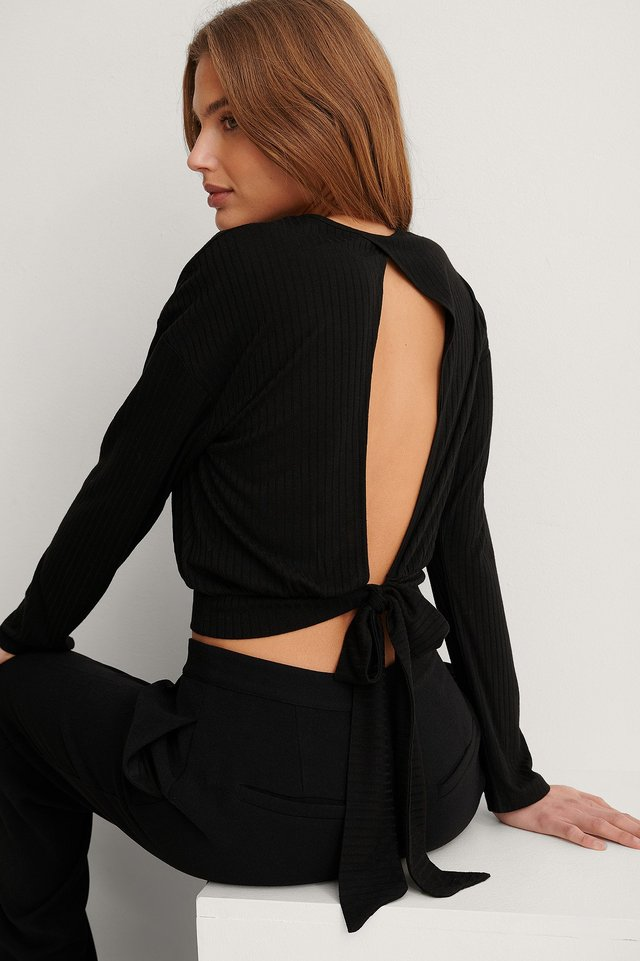 Black Recycled Loose Knot Back Detail Top