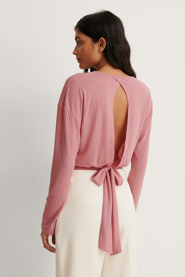 Dusty Pink Recycled Loose Knot Back Detail Top