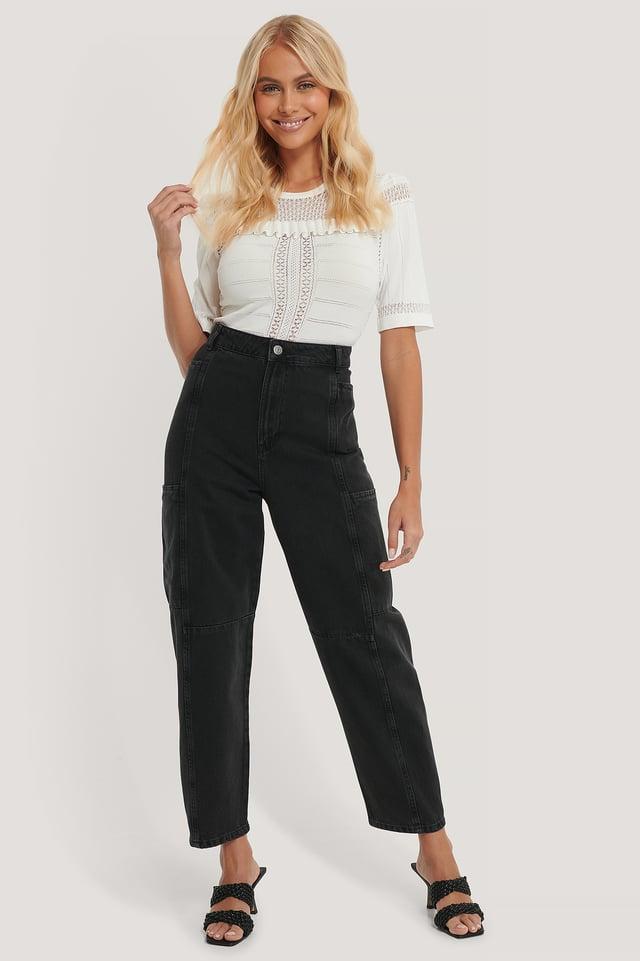 Black Organic Loose Leg Balloon Jeans