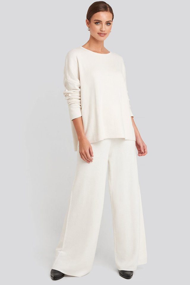 Lounge Wide Leg Pants Off White