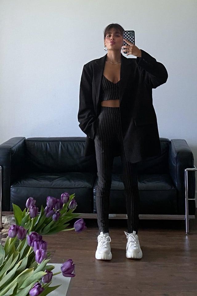 Nålestripete Bukser Med Glidelås Black