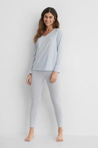 Blue Melange Loungewear Cotton Set