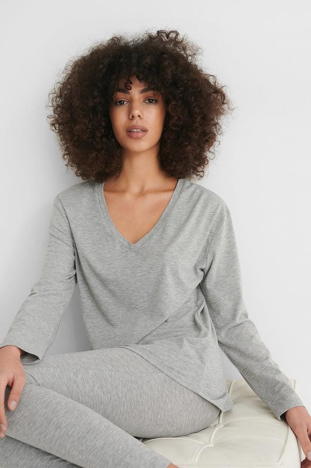Grey Melange Loungewear Cotton Set