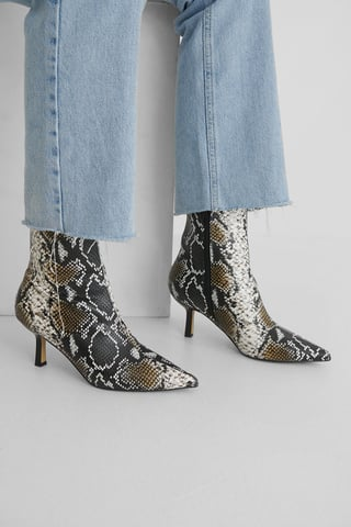 Snake Low Stiletto Ankle Boots