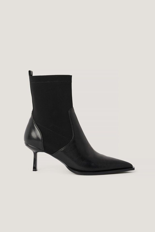 Black Low Stiletto Welt Detailed Boots