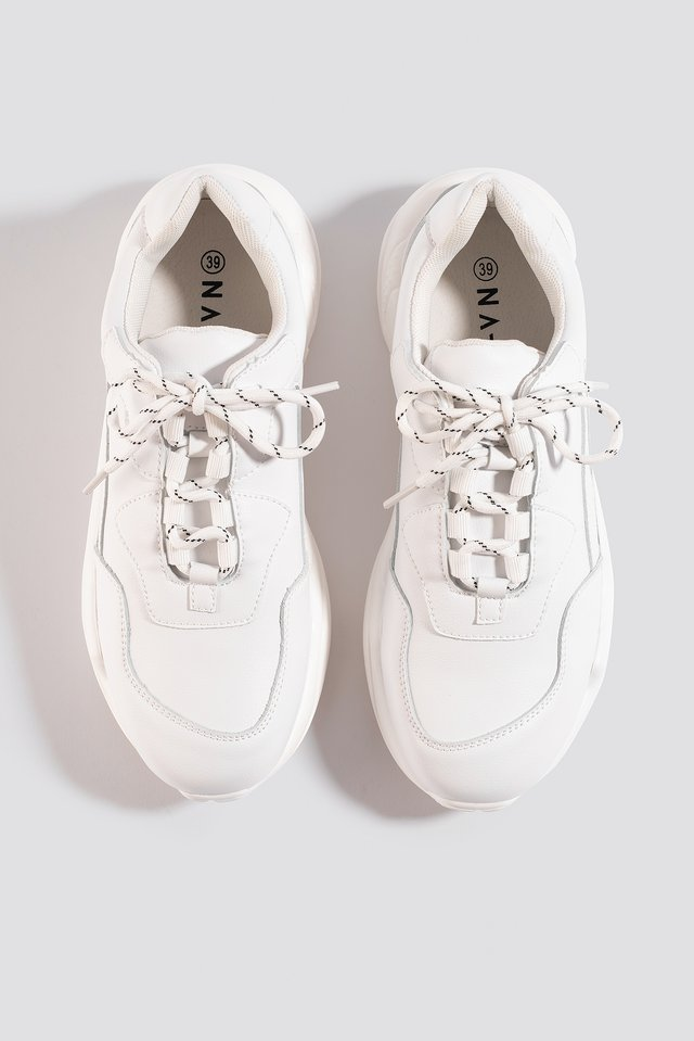 Low Striped Lace Trainers White
