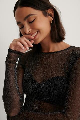 Black Long Sleeve Glitter Mesh Top