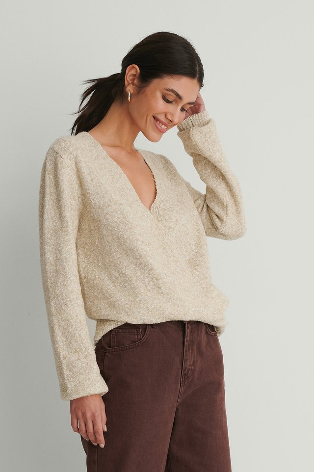 Melange Knitted Overlap Sweater Beige Melange