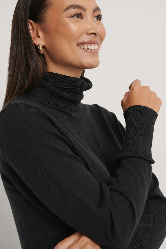 Black Merino Wool High Neck Sweater