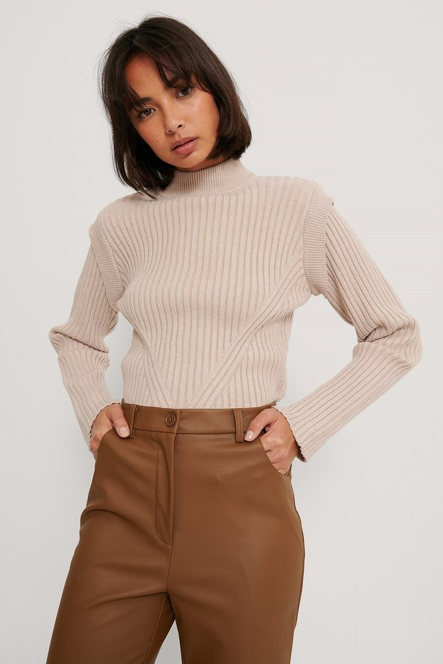 Beige Marked Shoulders Knitted Sweater