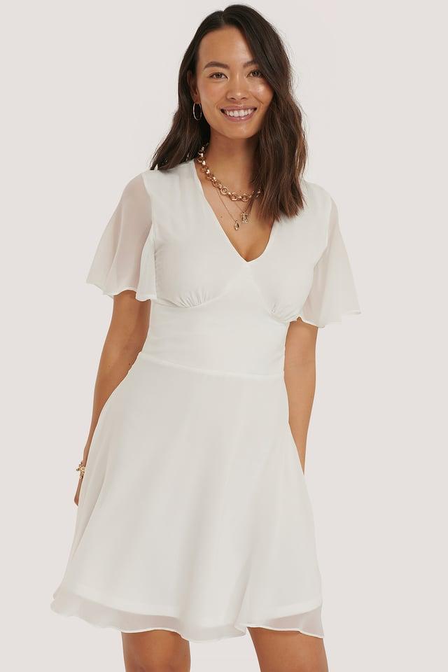 Marked Waist Mini Dress White