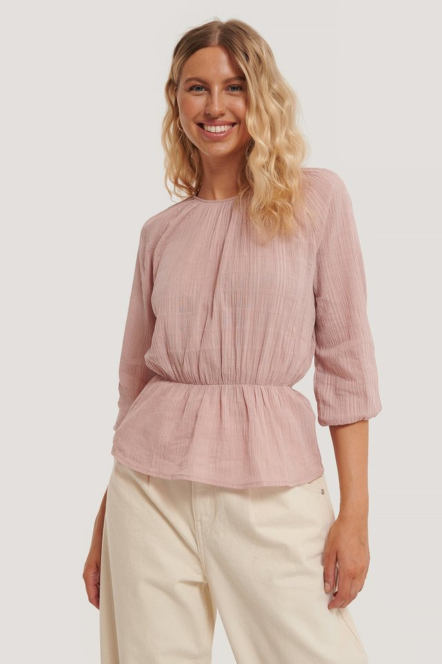Marked Waist Structured Blouse Pink