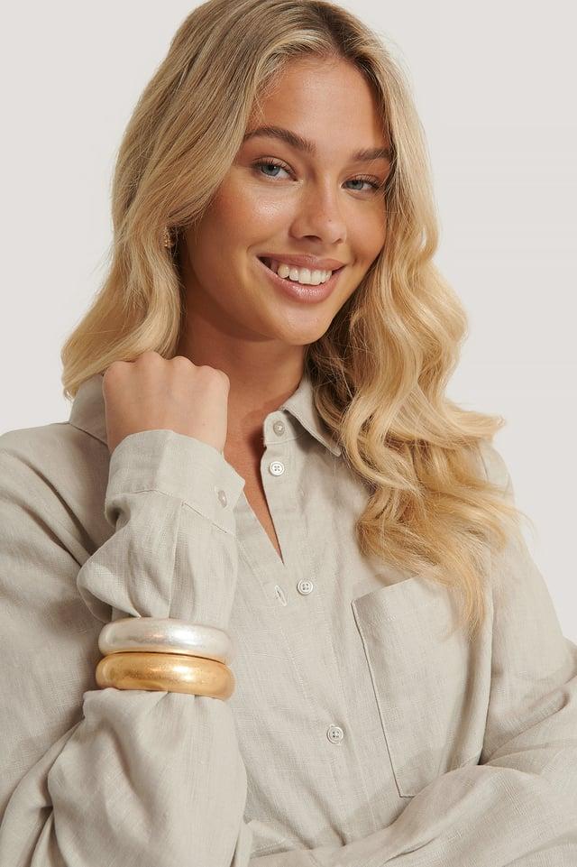 Matte Chubby Bracelets Silver/Gold