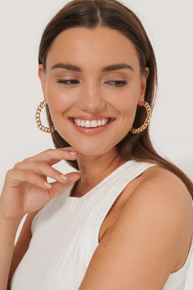 Gold Matta Kedjehoopörhängen