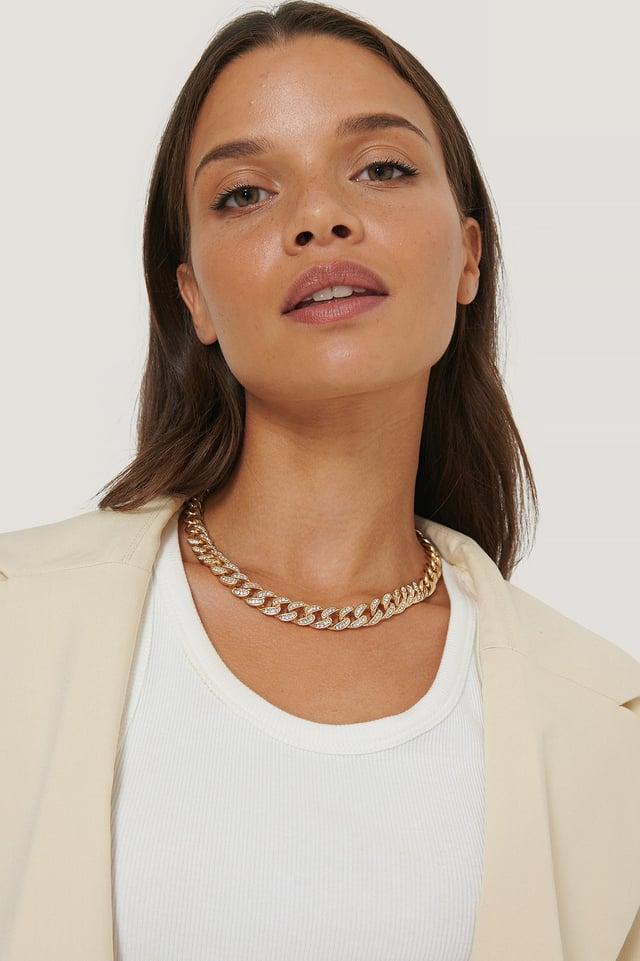 Matte Sparkling Chain Necklace Gold