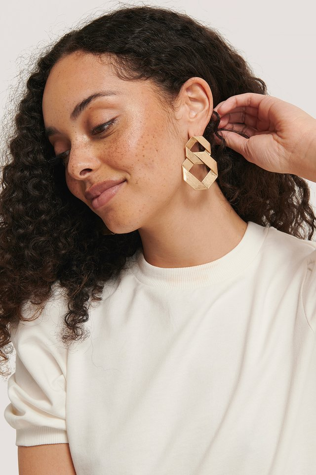 Gold Matte Wrapped Circled Earrings