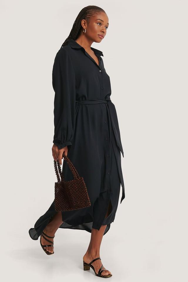 Black Maxi Belted Dress