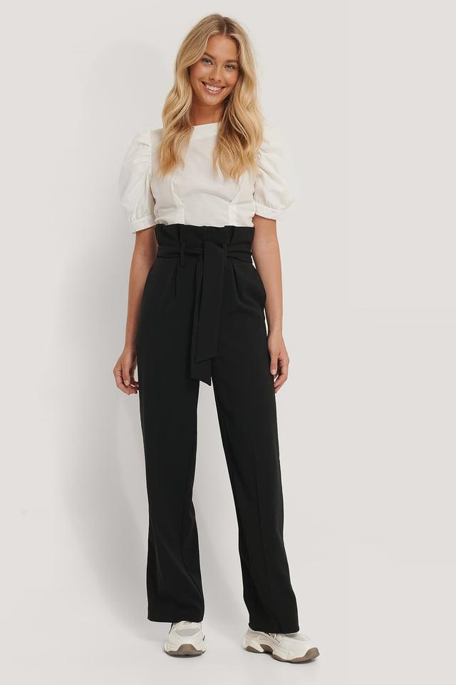 Maxi Paperwaist Suit Pants Black