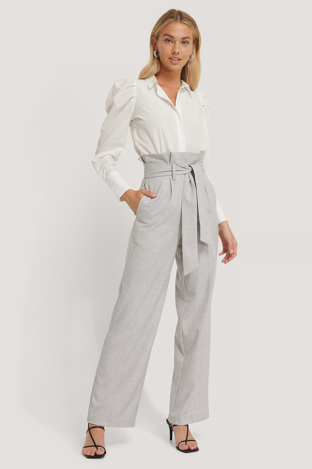 Maxi Paperwaist Suit Pants Grey