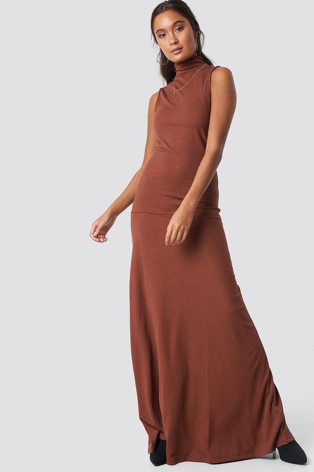 Maxi Polo Rib Dress Red Sand