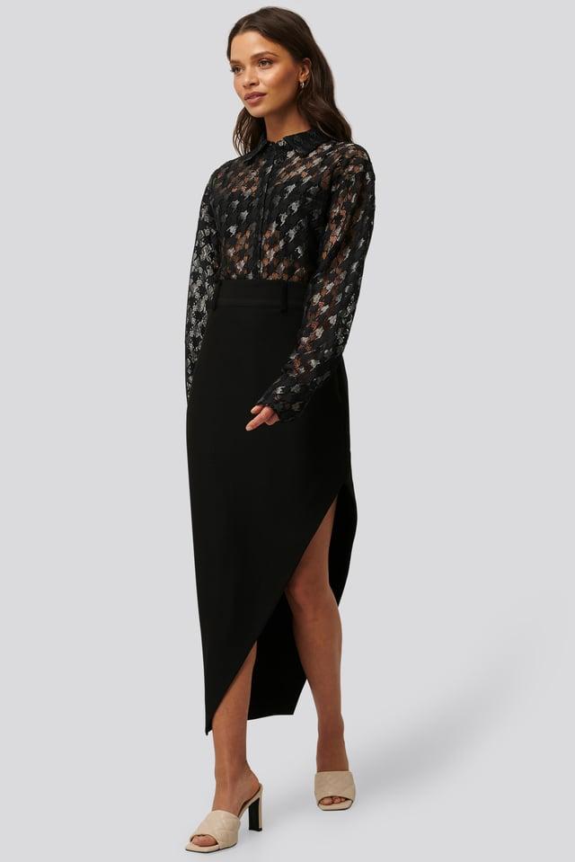 Black Maxi Tailored Asymmetric Skirt