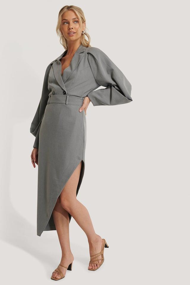 Maxi Tailored Asymmetric Skirt Grey