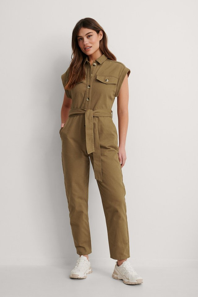 Green Melange Button Denim Jumpsuit