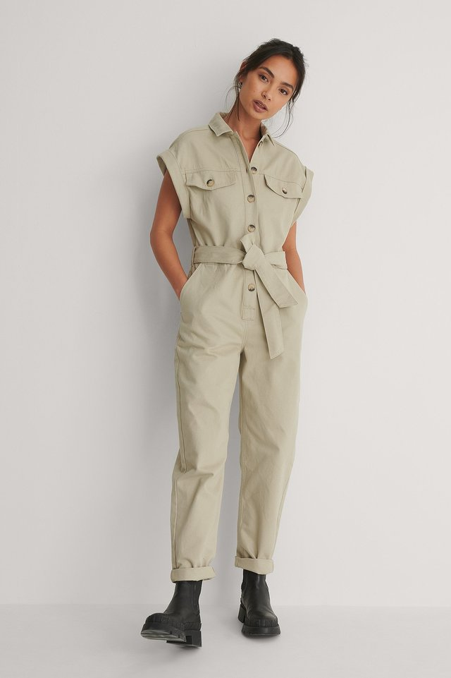 Light Khaki Melange Button Denim Jumpsuit