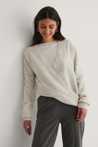 Grey Melange Melange Knitted Overlap Sweater