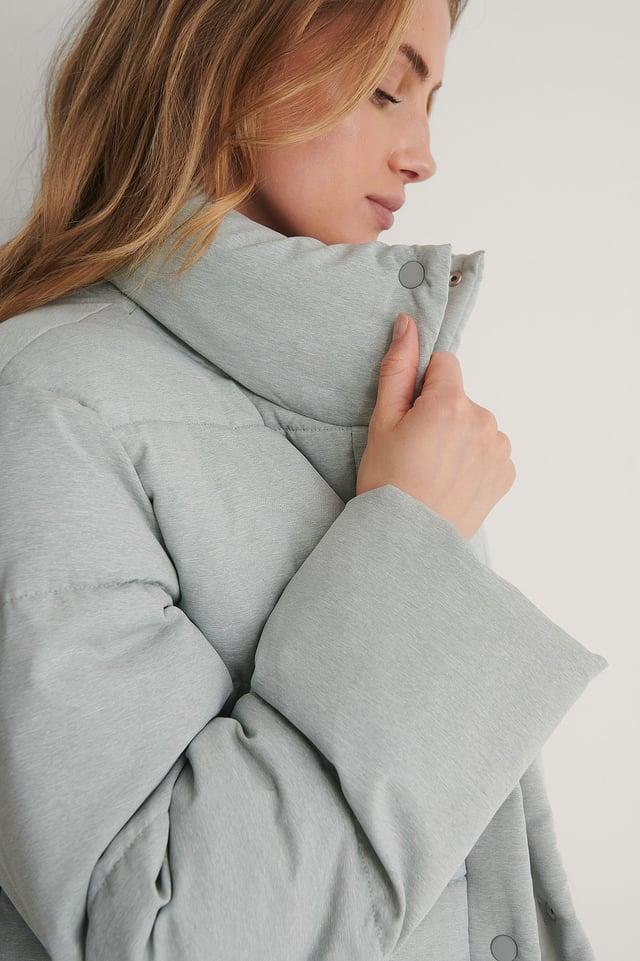 Grey Recycled Melange Padded Jacket