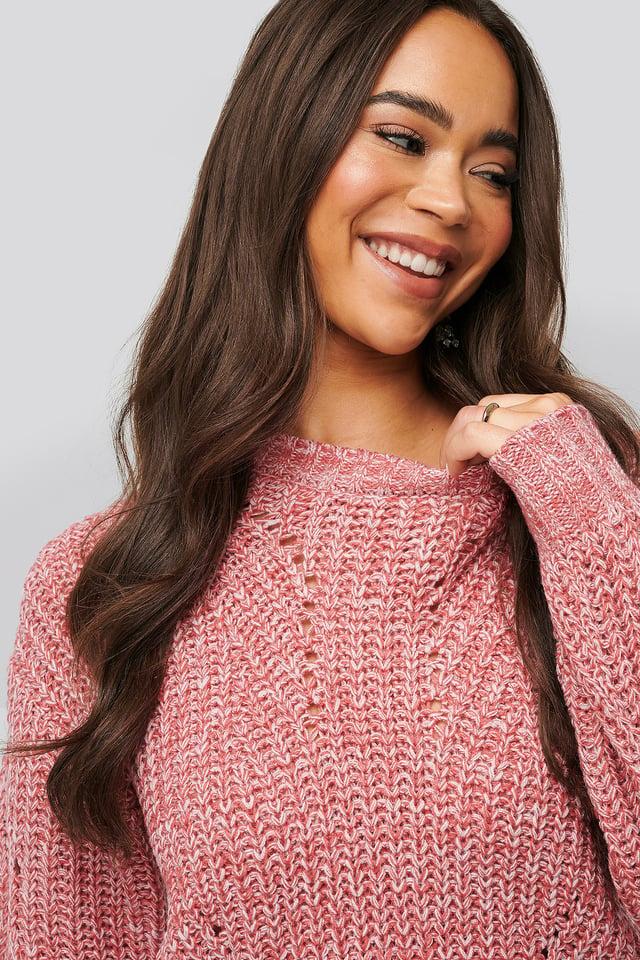 Melange Round Neck Knitted Sweater Pink