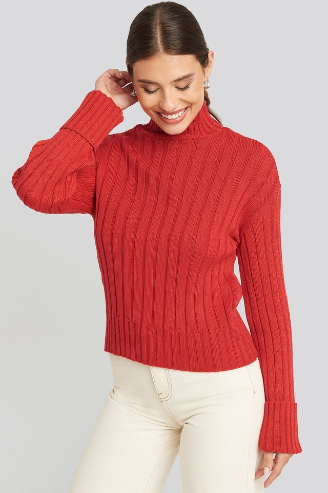 Merino Wool Blend Ribbed Sweatshirt Red