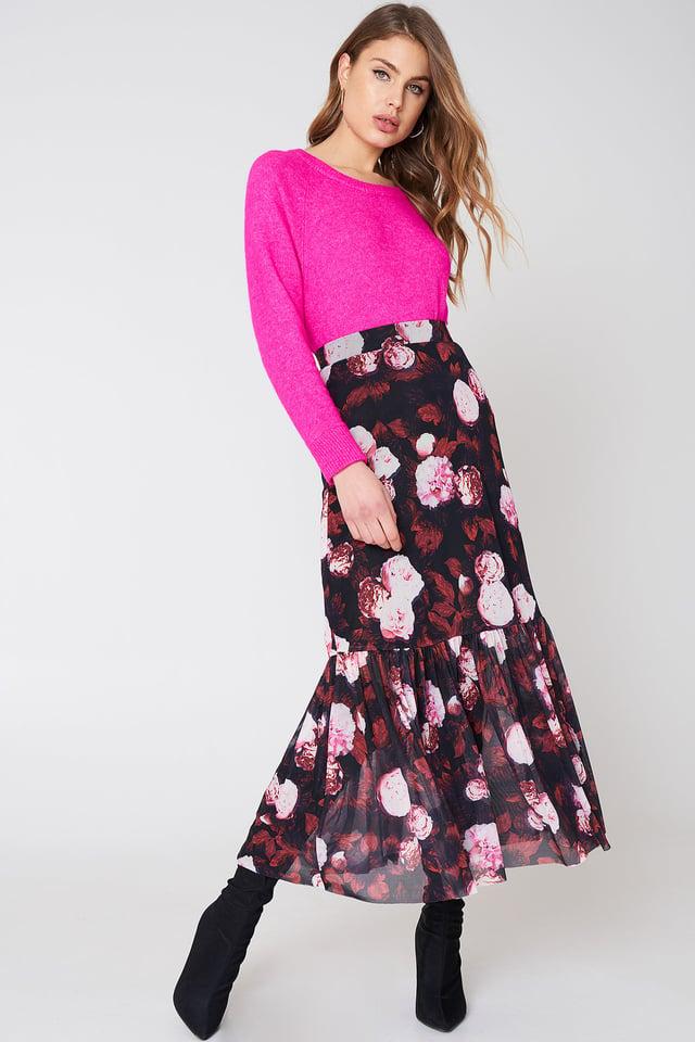 Red Flower Spódnica Maxi Z Elastyczną Talią