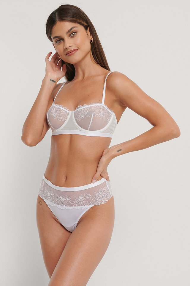 Mesh Embroided Cheeky Panty White