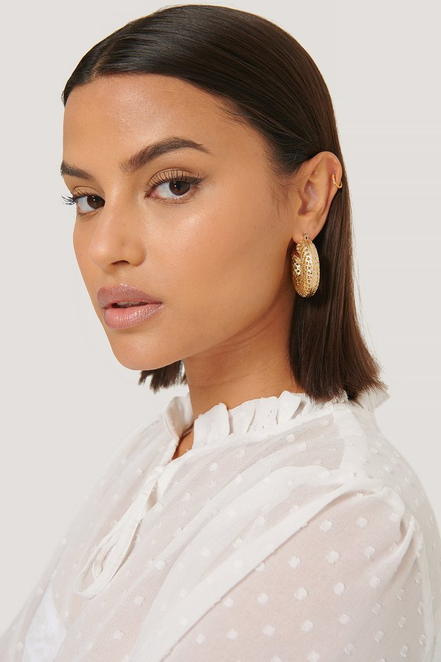 Gold Mesh Look Chubby Hoops
