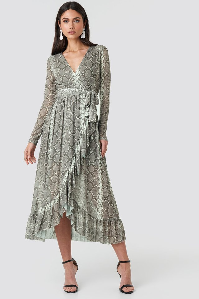 Mesh Printed Frill Maxi Dress Snake Print