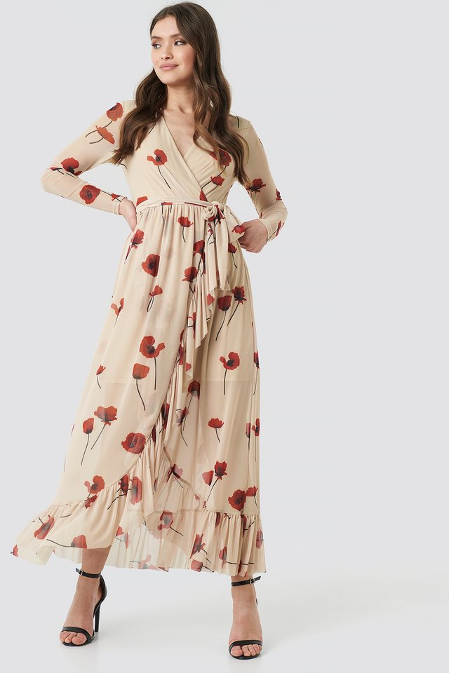 Mesh Printed Frill Maxi Dress Standing Poppy Flower Print