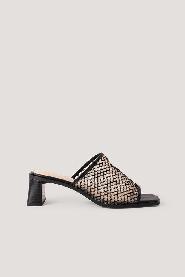 Black Mesh Zylinder Heel Mules