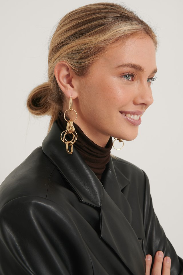 Gold Messy Chain Earrings