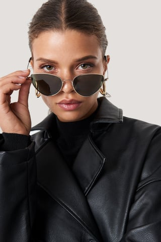 Dark Green Metal Frame Cat Eye Sunglasses