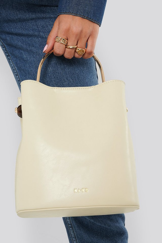 Nude Metal Handle Bucket Bag