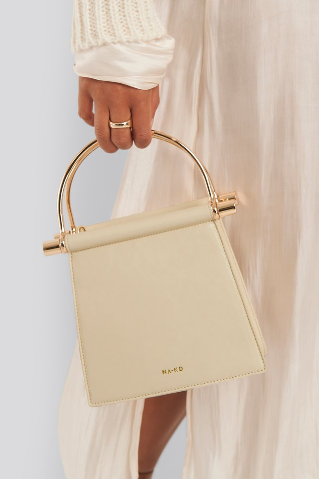Metal Handle Trapeze Bag Nude