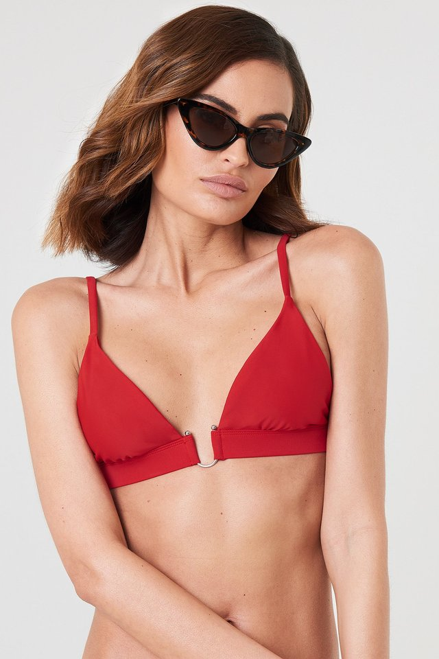 Metal Loop Bikini Bra Red