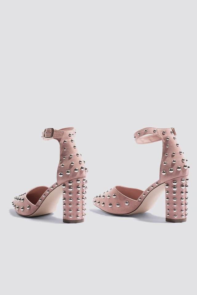 Dusty Pink Metal Studs Pointy Pumps